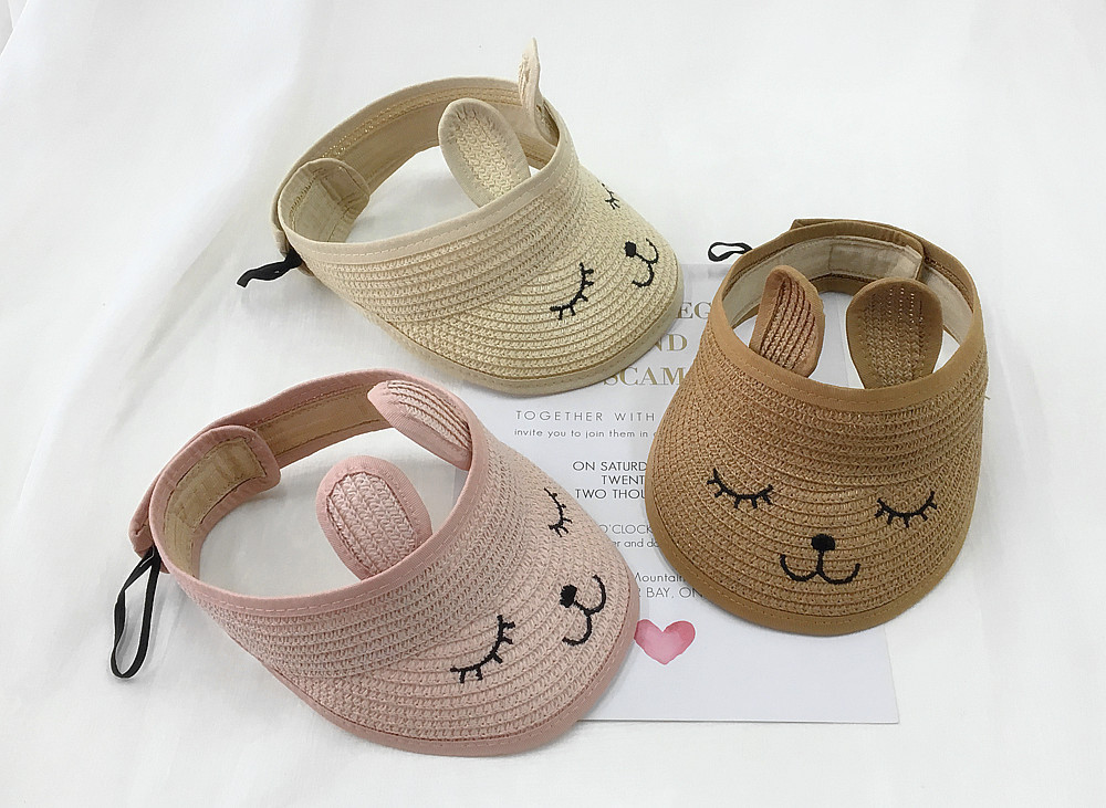 10pcs/lot 01901-pan473 summer character rabbit ear children without straw sun hat boy girl cap wholesale