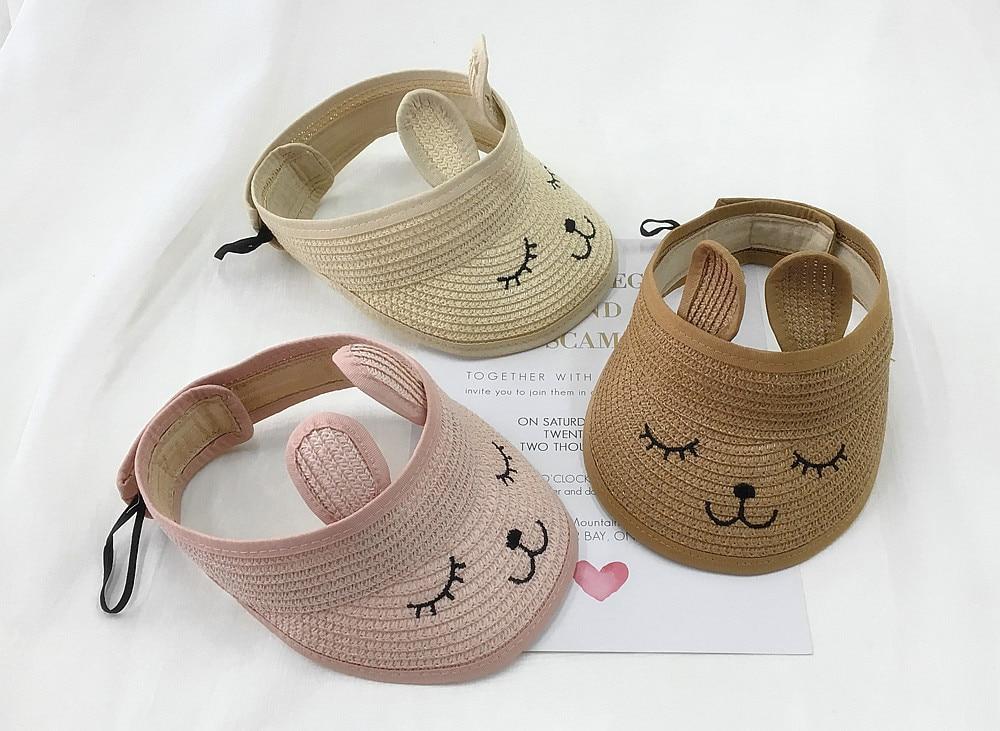 10pcs/lot 01901-pan473 summer character rabbit ear children without straw sun hat boy girl cap wholesale