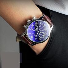 Горячие Продажи YAZOLE Марка 3 Глаза Кварцевые Неподдельной Кожи Платье Бизнес Наручные Часы Наручные Часы для Мужчин Мужской Синий Луч Света