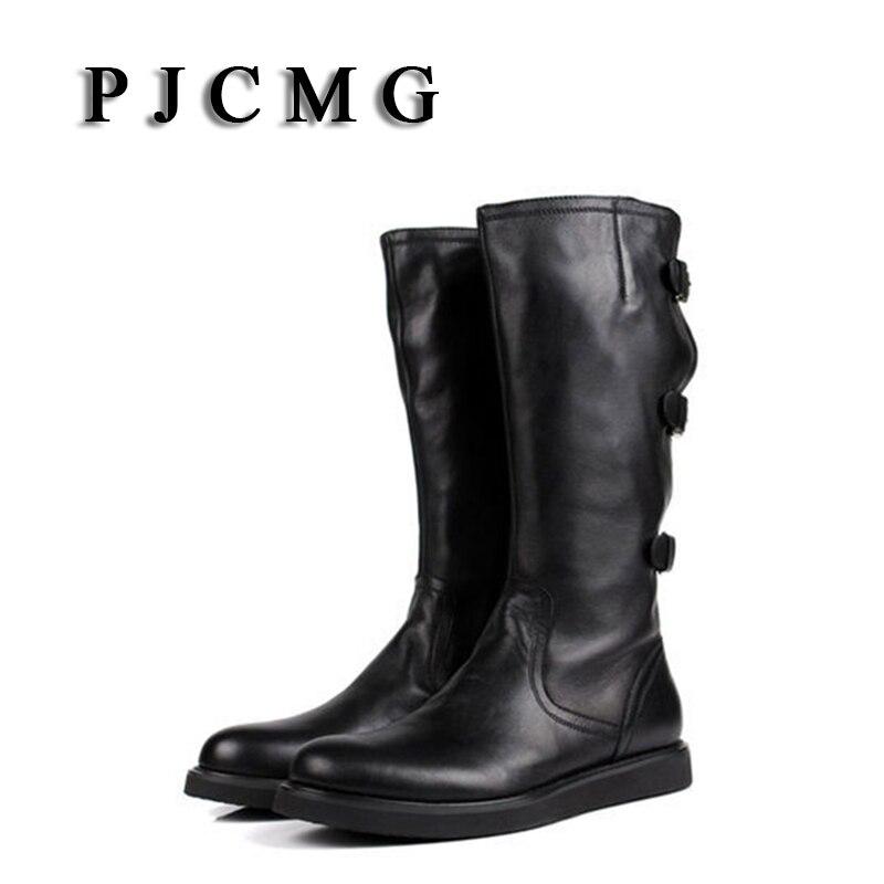 Echtem Qualität Pjcmg Neue Winter Westlichen Black Motorrad Hohe Männer white Leder Stiefel Vintage Für Schwarz qxTFUa