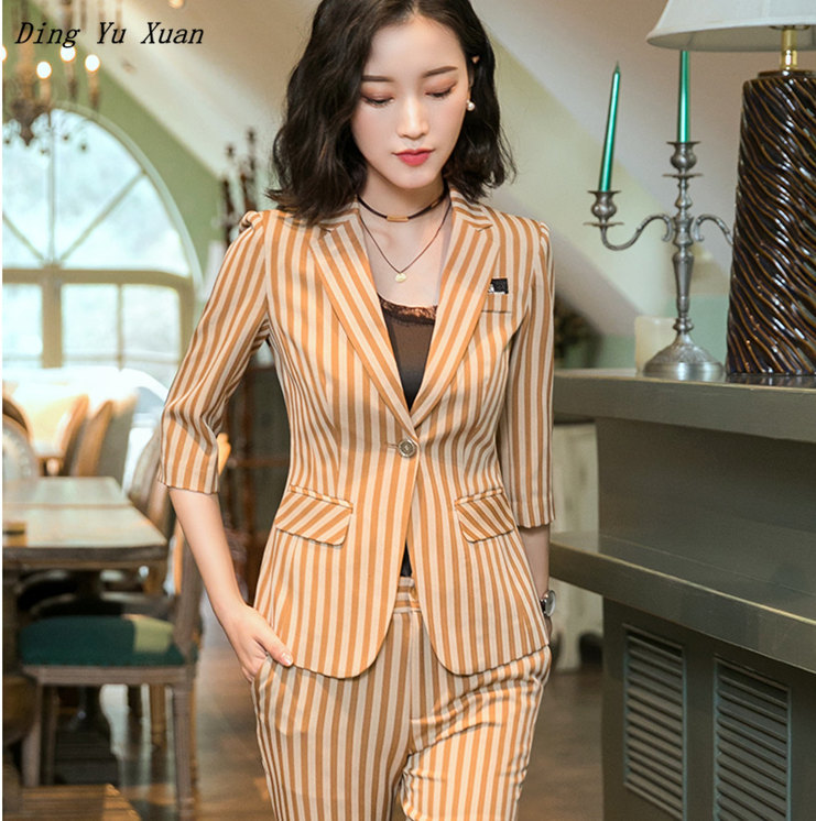 Trouser Suit Striped Women Business 2 Piece Suits With Jacket and Pant Ladies Office Work Professional Pants Suits Pantsuits 4XL