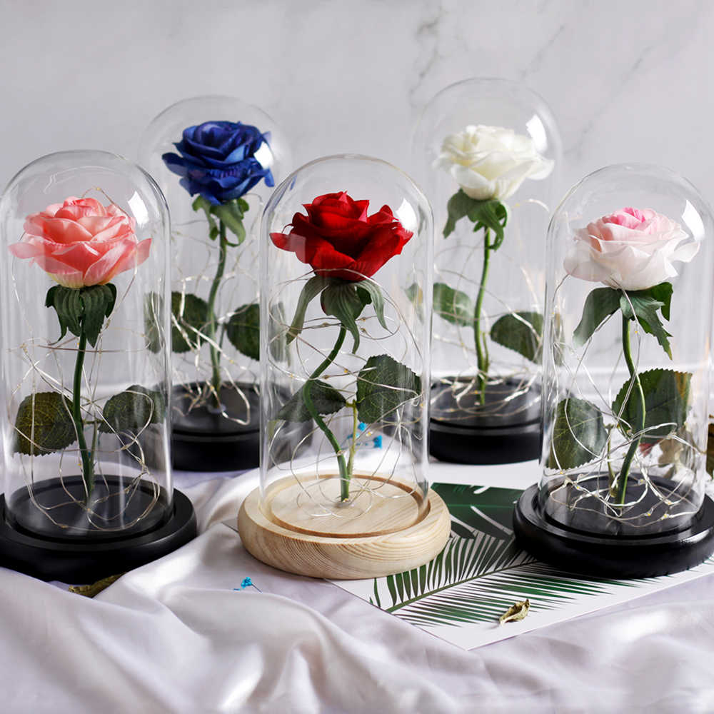 2019 New Artificial Flower Home Decor Dome Rose Beauty and Beast Valentine's Day Gift Mother's Day Gift Wedding Party Souvenir