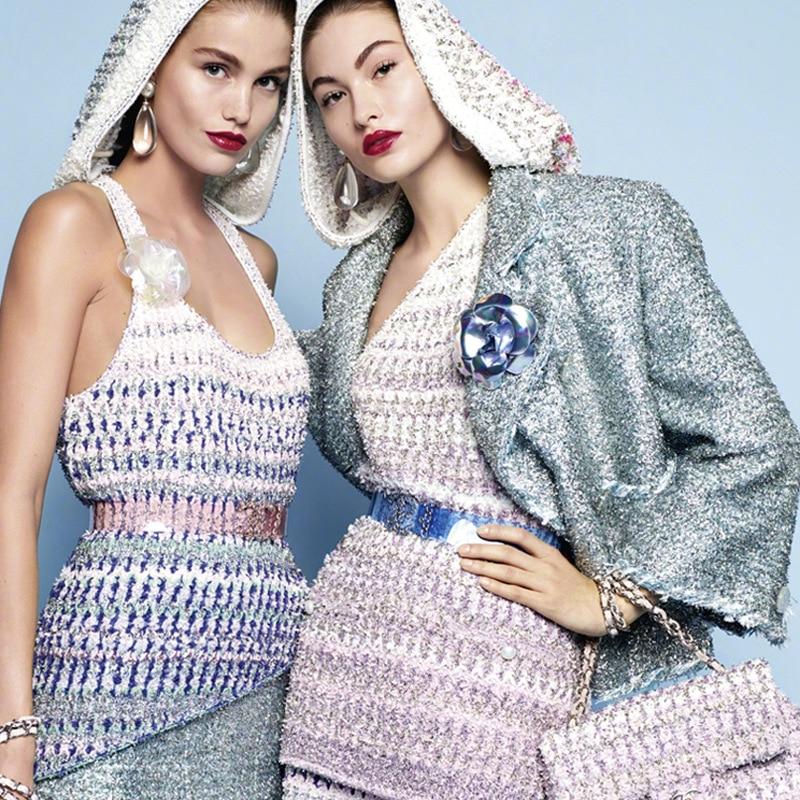 Marque de luxe été 2 pièce ensemble jupe pailletée rayure tricoté débardeur et Mini jupe piste haute qualité asymétrique dégradé ensemble