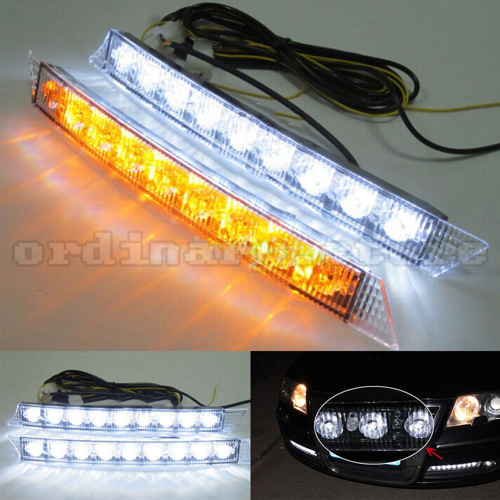 1 Pair 9 LED Car DRL Headlight Headlamp Driving Daytime Running Fog Lamp Daylight White DRL & Amber Turn Signal Light 12V 1 pair 12 led strip flexible snake style eagle eye car drl daytime running light driving daylight safety day fog lamp