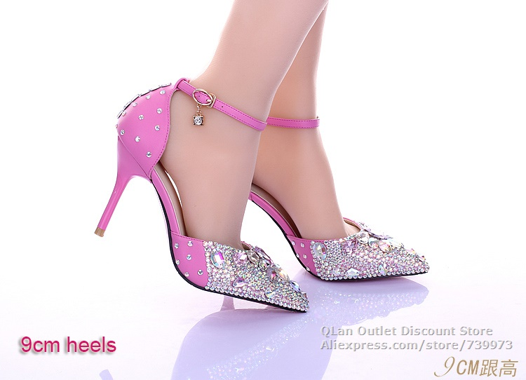 50c830e798de6 Bling sexy hot pink wedding sandals rhinestones two piece wedding shoes  pointed toe with ankle strap D orsay high heel QL SJW237-in Women s Sandals  from ...