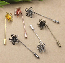 18X7 MM Fiigree Bunga Bros Pin dengan Akhir Stopper Bros Basis Pin Topi DIY Temuan Multi-Warna kuningan Berlapis Safety Pin(China)