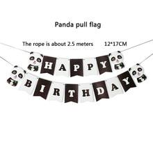 цена 17Pcs Panda Black Happy Birthday Decoration Garlands Wedding Bunting Supplies Babyshower Wreath Slingers Party Decor Candy Bar онлайн в 2017 году