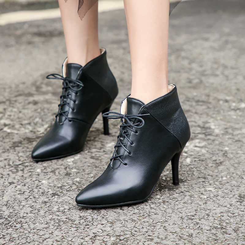 Sianie Tianie Lace Up kadın ayakkabı yüksek topuk yarım çizmeler kısa çizmeler güz bahar sivri burun kırmızı bayan ayakkabı pompaları büyük boy 44 43