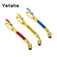 Yetaha 3Pcs 7 1/4 SAE R410a R134A Refrigerant HVAC AC Charging Hoses With Ball Valve Car Air Conditioning Adapter Tools