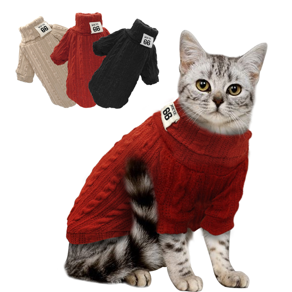 Winter Warm Cat Sweater Kitten Clothes Pet Clothes Sweaters Puppy Turtleneck Clothing Knitwear For Small Dogs Cat