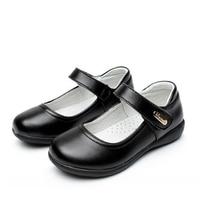 Children Leather shoes Cow Split leather Black Girls Flats Dance shoes Student etiquette performance shoes 02B