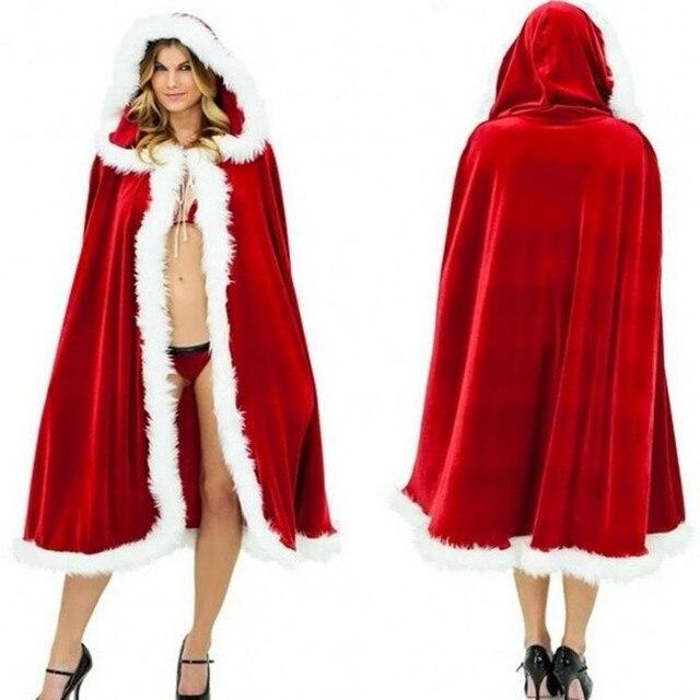 women men cloak cosplay costume santa claus red velvet long cloak capes party dress halloween christmas