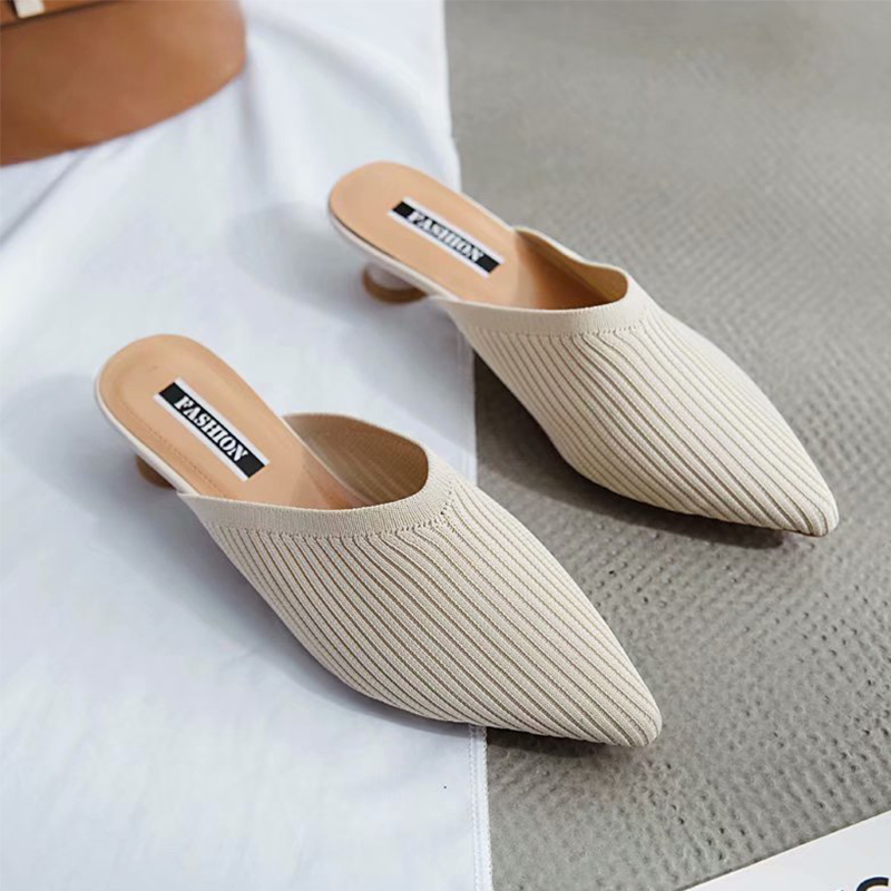 Pointed Toes Slip On Mules Weaving Breathable Women Slippers Summer Outdoor Elegant Women Shoes Fashion Low Heels Slippers Women