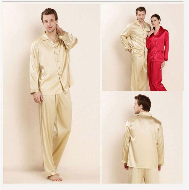 100% Real Silk Pajama Sets for Male Man Pyjamas Lovers Sleepwear 2016 New Lounge Sets Spring Gifts AU80031-1