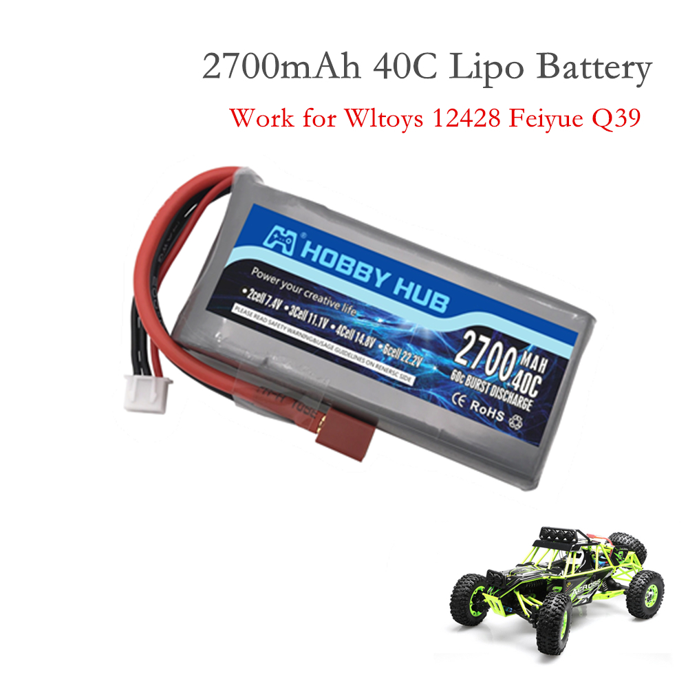 1 шт. Hobby Hub ХОРОШЕЕ КАЧЕСТВО Rc Lipo Battery 2S 7,4 V 2700mah 40C Max 60C для Wltoys 12428 12423 1:12 RC автозапчасти