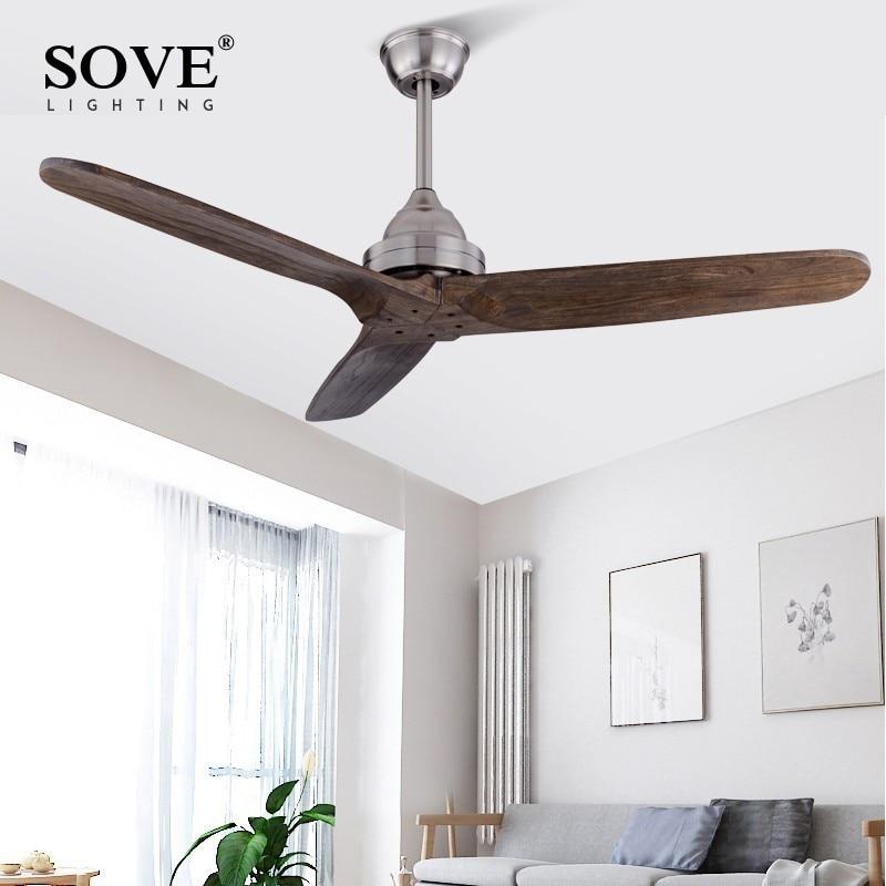 SOVE 52 Inch Black Vintage Wooden Ceiling Fan Woodremote Control With Reverse Ventilador Techo Luz Industrial