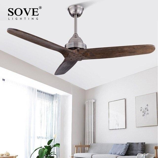 SOVE 52 Inch Black Vintage Wooden Ceiling Fan Woodremote Control With Reverse Ventilador Techo Luz Industrial Ceiling Fans 220V