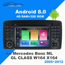 2Din Android 7.1 8.0 Car Radio GPS Navigation DVD Multimedia Player For Mercedes Benz ML GL CLASS W164 X164 2005-2012 IPS Screen