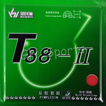 Sanwei T88-II (T88-2, T88 2) Quick-Attack/Loop Pips-in Table Tennis (PingPong) Rubber With Sponge