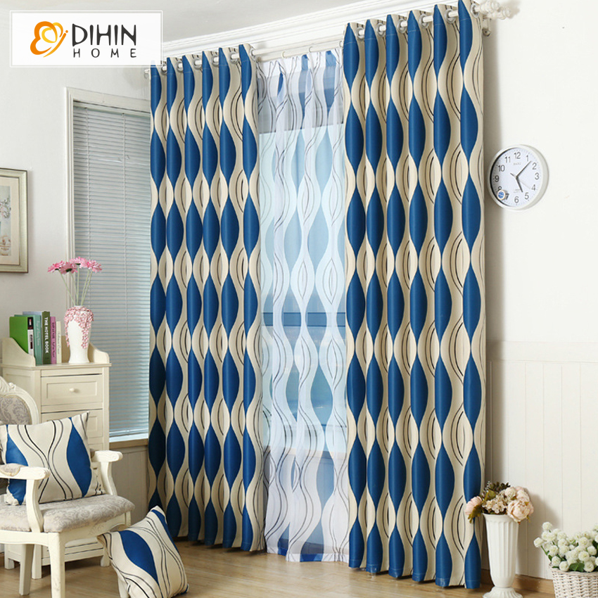 Dihin 1 Pc Striped Printed Window Curtains For The Bedroom