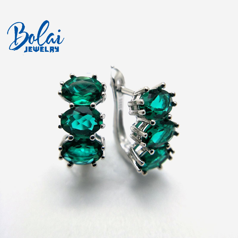 Bolai 3 stone nano emerald stud earrings 925 sterling silver gemstone fine jewelry ear hoop for women wedding timeless style in Earrings from Jewelry Accessories