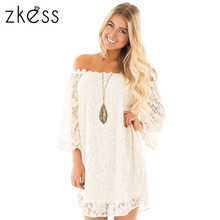 Zkess Women Summer Lace Vintage Off The Shoulder 3 4 Sleeve Floral Party  Dresses 7d1a621363da