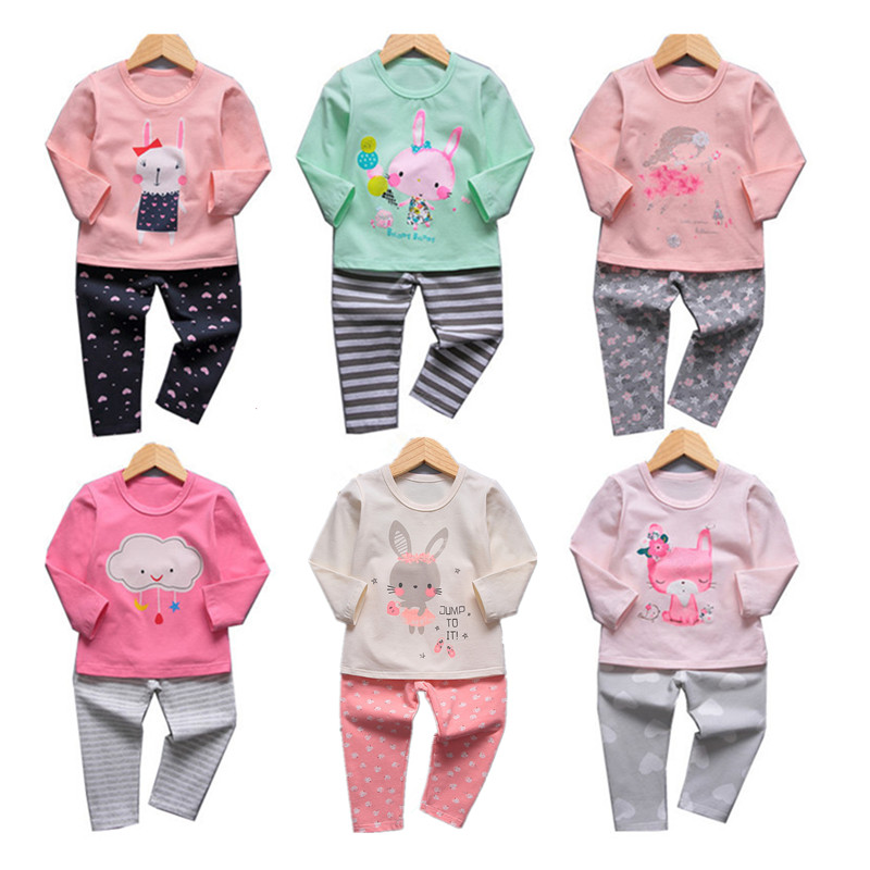 VIDMID girls pajamas clothing sets kids cartoon clothes t-shirts and pants baby girls underwear sets for girl sleepwear 4049 02 2018 spring kids girls sleepwear cotton cartoon print infant pajamas for girls home clothes t shirt pants suit kids clothing set