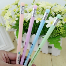 1 Pcs Cute Kawaii Aihao Pencil Style 0.5mm Eraserble Gel Ink Pens With Gel Pen Erasers Office School Supplies Stationery Kids