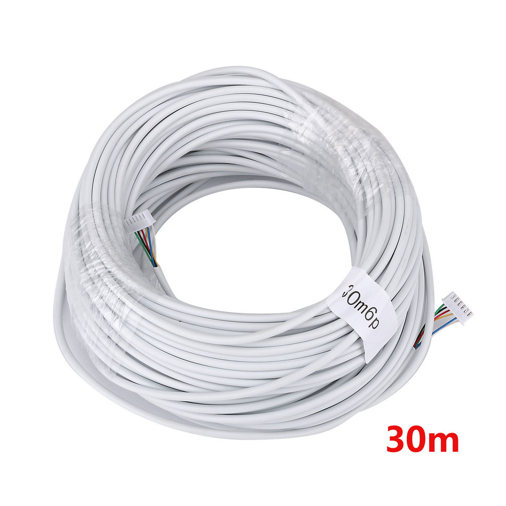 30M 2.54*6P 6 Wire Cable For Video Intercom Color Video Door Phone Doorbell Wired Intercom Cable