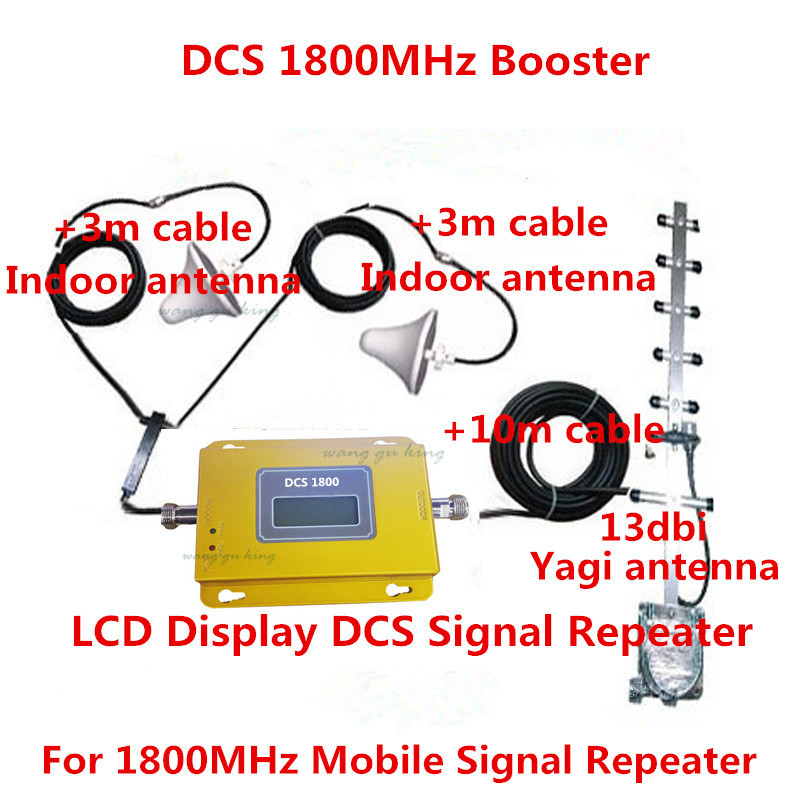 LCD Full Set 4G LTE DCS 1800Mhz Booster W/ Cable+2 Indoor Antennas,DCS Repeater Signal Amplifier DCS Booster Repeater Kits