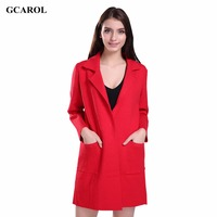 Women New Turn Down Collar Long Cardigan Core Spun Yarn High Quality Solid Knitting Coat Spring