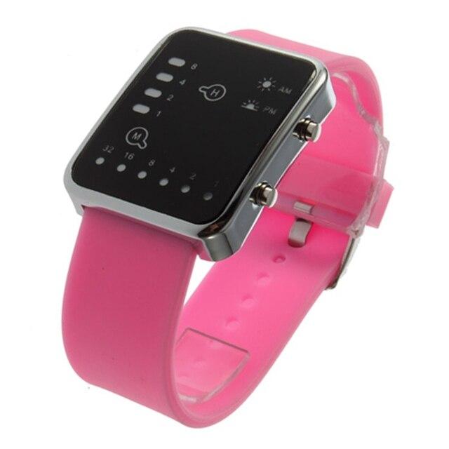 Esporte led relógios rosa moda feminina relógio de pulso quadrado casal presente silicone marca de luxo silicone led binary watch 5