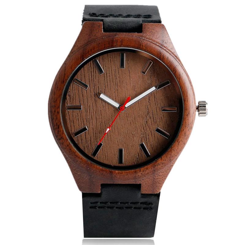 Hombres de bambú creativo reloj de madera de cuarzo correa de cuero - Relojes para hombres - foto 2