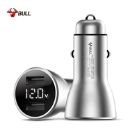 Top Brand BULL USB Car Charger Screen Display Charge Fast for IPhone Samsung Redmi Tablet Mobile Phone Intelligent Car Charger