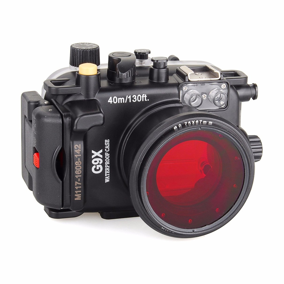 Meikon 40m Underwater Waterproof Camera Housing Case for Canon G9X + 67mm Red Filter