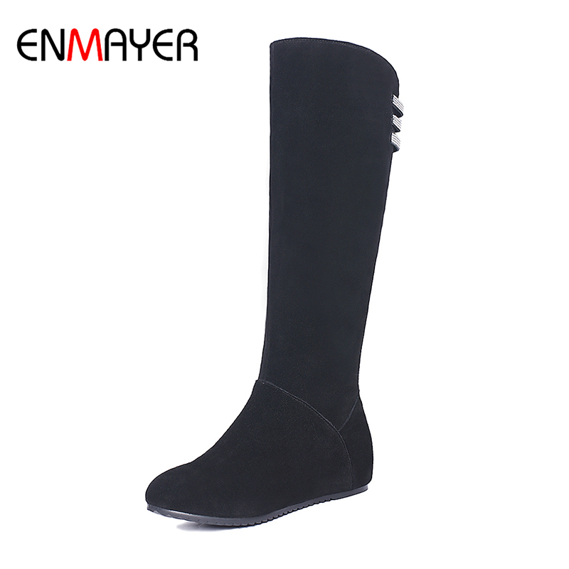 ФОТО ENMAYER Cow Suede Knee-High Heigh Increasing Winter Solid Boots Lady Zipper Short Plush Round Toe Slip-on Boots Plus Szie 34-43