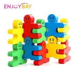 Enjoybay 16 sztuk/zestaw bilans edukacyjny Villain klocki zabawki do gier dla dzieci kolorowe drewniane zabawki balansujące rozliczenie