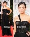 Mila Kunis Dress Black Sweetheart One Shoulder Pleated A Line Red Carpet Celebrity Dresses