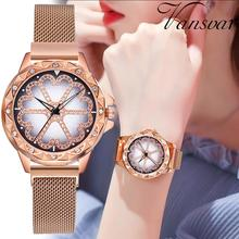 Women Magnetic Wrist Watches Luxury Crystal Rose Gold Watch Lucky Flower Female Clock Quartz Relogio Feminino 2019