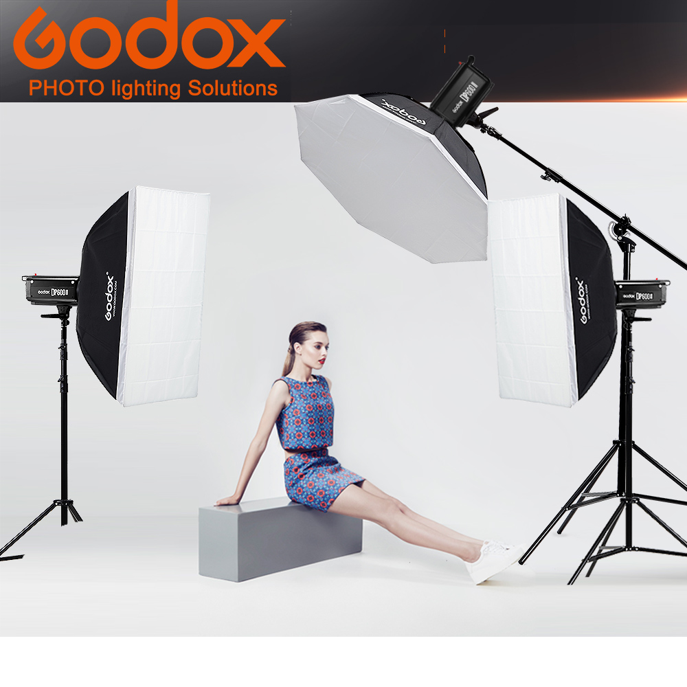 Godox 3x DP600 600WS Photographic light portrait children studio room light studio light soft box photography flash set