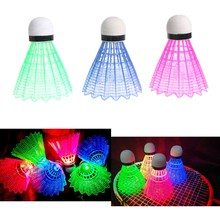 3pcs LED Badminton Ball Glowing Light Up Plastic Badminton Shuttlecocks Colorful Lighting Balls(China)