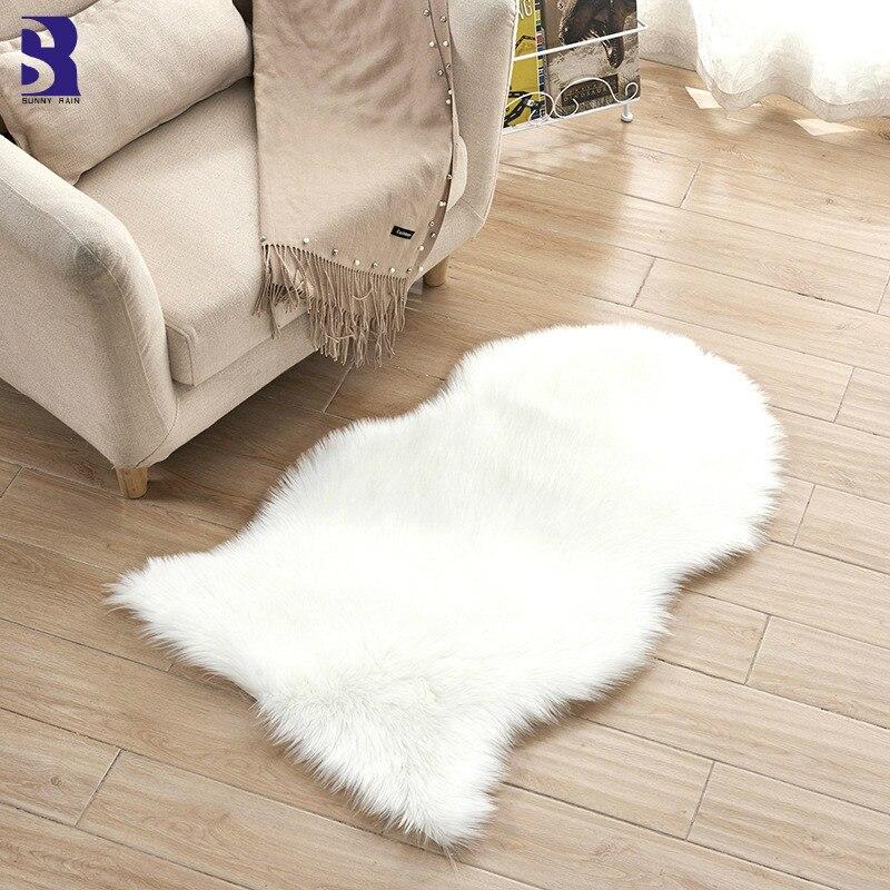SunnyRain 1 pièce tapis en peau de mouton fourrure artificielle tapis rose Shaggy pour salon chambre tapis blanc moelleux