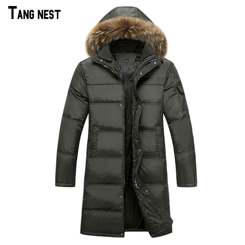TANGNEST Men   Down   Parkas New Winter Men Solid Extended Long   Down     Coats   Men Casual Hat and Collar Detachable   Coat   4XL MWY168