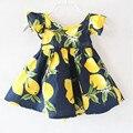 Девочки Бутик Платье, Лимон Печатных платье хлопка, летние Детские девушки Одеваются, рябить Рукав спинки платья девушки pattern