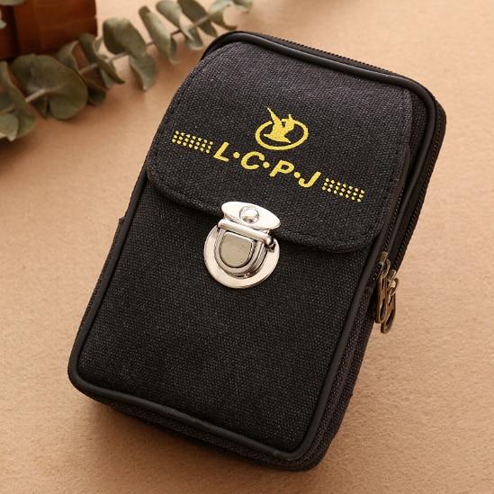 Men Fanny Pack Mobile Phone Bags Brown Black Zipper Coin Purse Burse Good Quality Bag Canvas Cover Waist Packs Casual Man Purses