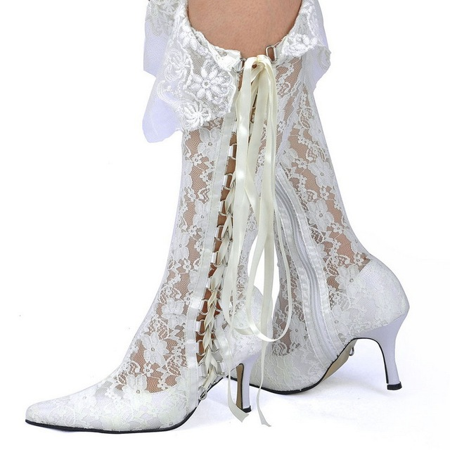Elegant Women White Wedding Lace Boots Versatile Closing Methods Fashion  Lace-up Side Zip Vintage Wedding Boots 090fdc937d65