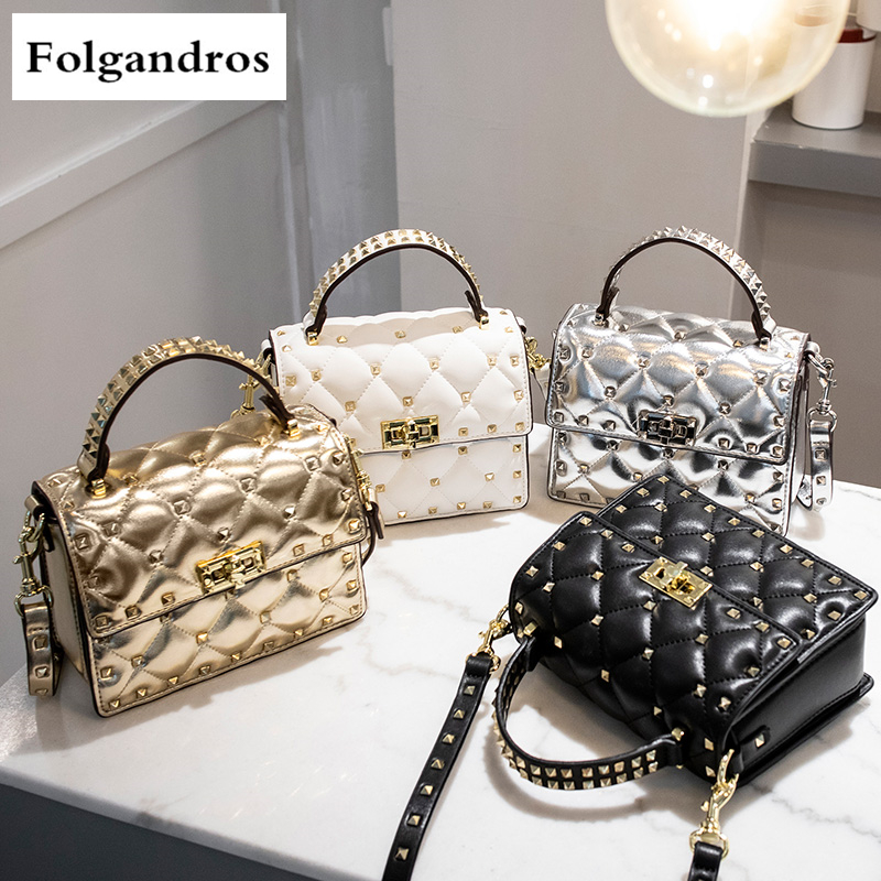 Luxury Brand Handbag Rivet Small Square Bag Shoulder Bag High Quality Women Chain Messenger Bag Famous Designer Louis Sac A Main