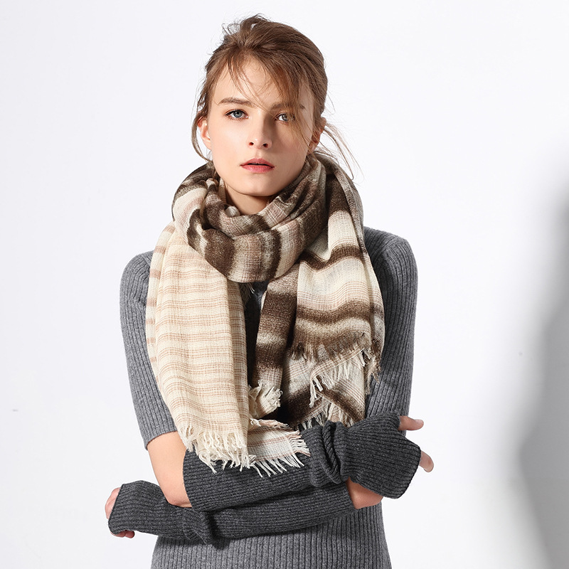 New Outdoor Mountaineering Scarf Scarf Wool Section Dyed Shawl Fashionable Printed Scarf Warm Keeping in Autumn and Winter 2017 new fashion korean warm winter scarf women knit neck circle wool blend cowl snood snood ring scar multi purpose wool scarf