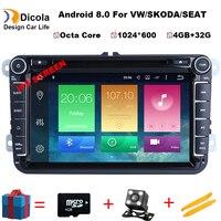 Octa Core 8'' IPS HD Android 8.1 Car DVD Player GPS Navigation Radio For VW JETTA Tiguan Passat B6 Touran Caddy Amarok Golf EOS