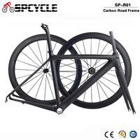 Spcycle 2019 New Ultralight Carbon Road Bike Frame Wheelset T1000 Carbon Road Bicycle Frameset With Seatpost Headset 50/53/55cm